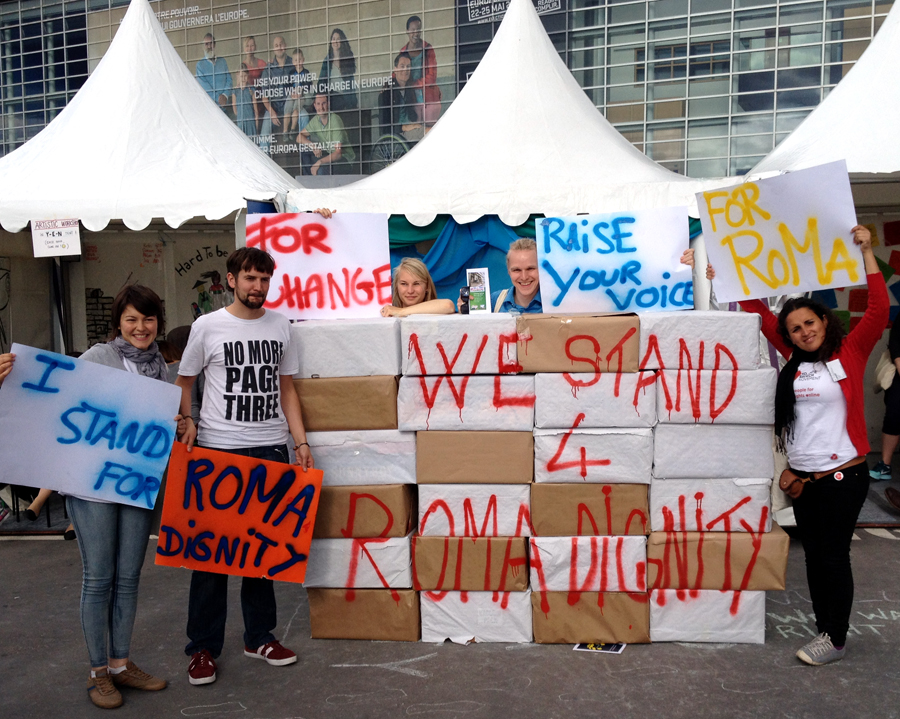 """The main action from our stand was the """"WALL FREE EUROPE"""" We invite you to see our photo action and to stand together for Roma dignity at http://phirenamenca-eye2014.tumblr.com."""